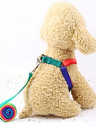 cheap -Dog Cat Outfits Harness Leash Dog Clothes Rainbow Costume Husky Labrador Golden Retriever Nylon Patchwork Sports & Outdoors With Leash S M