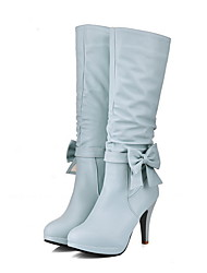 cheap -Women's Boots Stiletto Heel Round Toe PU Mid-Calf Boots Winter Black / White / Blue