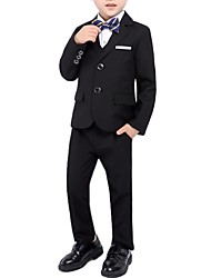 cheap -Black / Dark Navy Polyester Ring Bearer Suit - 1 Piece Includes  Coat / Vest / Pants