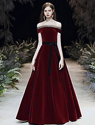 cheap -A-Line Elegant Vintage Inspired Prom Dress Off Shoulder Short Sleeve Floor Length Velvet with Sash / Ribbon 2020