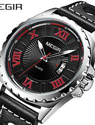 cheap -MEGIR Men's Dress Watch Quartz Formal Style Modern Style PU Leather 30 m Water Resistant / Waterproof Calendar / date / day Large Dial Analog Casual Fashion - Black White