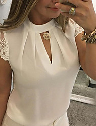 cheap -Women's Blouse Shirt Solid Colored Lace Cut Out Patchwork Round Neck Tops Slim Basic Top White Black Blue