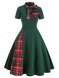cheap -Women's Date Vacation Street chic Elegant Swing Dress - Geometric Tie Dye Bow Patchwork Print Black Green S M L XL
