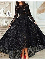 cheap -A-Line Vintage Black Prom Formal Evening Dress Jewel Neck Long Sleeve Asymmetrical Lace with Pleats 2020