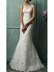 cheap -Mermaid / Trumpet Off Shoulder Sweep / Brush Train Tulle Regular Straps Wedding Dresses with Beading / Appliques 2020