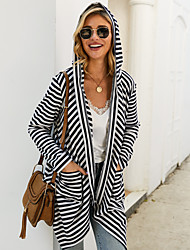 cheap -Women's Striped Long Sleeve Cardigan Sweater Jumper, Hooded White S / M / L
