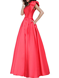 cheap -A-Line One Shoulder Floor Length Stretch Satin Elegant Prom / Formal Evening Dress with Pleats 2020