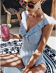 cheap -Women's Basic Bandeau Cheeky High Waist Bikini Swimwear Swimsuit - Striped Solid Colored Lace up Print S M L Light Blue
