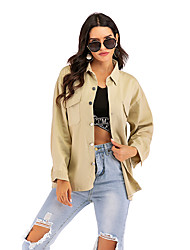 cheap -Women's Daily / Going out Street chic Fall & Winter Regular Jacket, Solid Colored / Letter Shirt Collar Long Sleeve Cotton Khaki