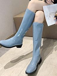 cheap -Women's Boots Flat Heel Round Toe PU Knee High Boots Winter Black / Yellow / Green