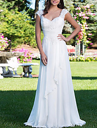 cheap -A-Line Wedding Dresses V Neck Court Train Chiffon Cap Sleeve with Lace Insert 2020