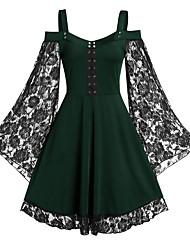 cheap -Women's Date Vacation Street chic Elegant Swing Dress - Solid Colored Lace Trims Black Wine Green L XL XXL XXXL