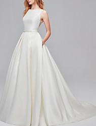 cheap -A-Line Jewel Neck Court Train Satin Regular Straps Simple Backless / Elegant Wedding Dresses with Buttons 2020