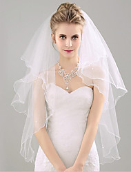 cheap -Two-tier Sweet Style / Lovers Wedding Veil Fingertip Veils with Solid 53.15 in (135cm) Tulle / Straight Cut