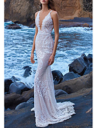 cheap -Sheath / Column V Neck Court Train Lace Spaghetti Strap Made-To-Measure Wedding Dresses with Beading 2020