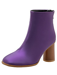 cheap -Women's Boots Chunky Heel Square Toe PU Booties / Ankle Boots Casual / British Fall & Winter Black / Purple / Silver
