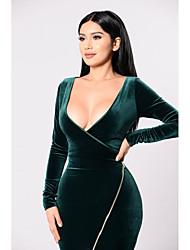 cheap -Women's Sheath Dress - Solid Colored Green S M L XL