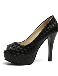 cheap -Women's Heels Stiletto Heel Peep Toe Faux Leather / PU Casual / Minimalism Spring &  Fall / Spring & Summer Black / Silver / Party & Evening