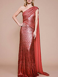 cheap -Sheath / Column Sparkle Red Engagement Formal Evening Dress One Shoulder Sleeveless Sweep / Brush Train Sequined with Ruched Sequin Draping 2020