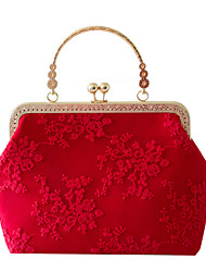 cheap -Women's Embroidery / Lace Polyester Evening Bag Floral Print Red