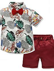 cheap -Kids Boys' Basic Geometric Short Sleeve Clothing Set Red