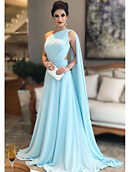 cheap -A-Line One Shoulder Sweep / Brush Train Chiffon Elegant Formal Evening Dress with Ruched 2020
