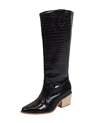 cheap -Women's Boots Block Heel Pointed Toe PU Mid-Calf Boots Fall & Winter Black / Yellow