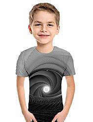 cheap -Kids Boys' Active Street chic Geometric 3D Patchwork Print Short Sleeve Hoodie & Sweatshirt Gray