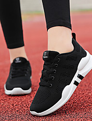 cheap -Women's Athletic Shoes Flat Heel Round Toe Mesh / Tissage Volant Sporty / Minimalism Running Shoes / Walking Shoes Spring & Summer / Fall & Winter Black / White