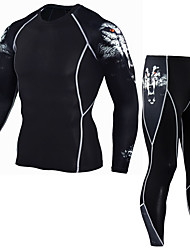 cheap -JACK CORDEE Men's Long Sleeve Cycling Jersey with Tights Compression Suit Winter Fleece Polyester Black Wolf Bike Clothing Suit Thermal / Warm Breathable Quick Dry Sweat-wicking Sports Wolf Mountain
