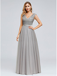 cheap -A-Line Plunging Neck Floor Length Satin / Tulle Vintage Inspired Prom Dress with Sequin 2020