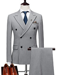 cheap -Black / Light Grey Solid Colored Tailored Fit Polyester Suit - Peak Double Breasted Two-buttons / Suits