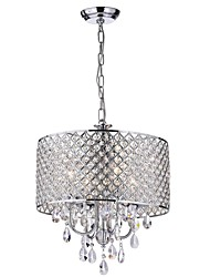 cheap -4-Light 40cm Crystal Chandelier Ceiling Light with Beaded Round Drum Metal Shade Antique Chrome Finish Pendant Lighting for Home Indoor