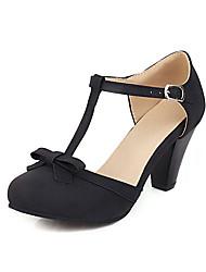 cheap -Women's Heels Chunky Heel Round Toe Bowknot PU Vintage / Casual Spring & Summer Black / Beige / Gray