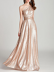 cheap -A-Line One Shoulder Floor Length Sequined Bridesmaid Dress with Pleats / Sequin / Sparkle & Shine