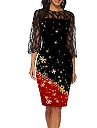 cheap -Women's Sheath Dress - Geometric Black M L XL XXL