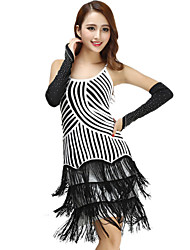 cheap -Women's Flapper Girl Latin Dance Flapper Dress Party Costume Flapper Costume Polyster Black and Red Black / White Dress