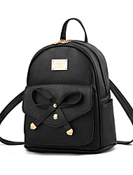 cheap -Lightweight Faux Leather PU Bow(s) Commuter Backpack Solid Color Daily Black / Wine / Sky Blue