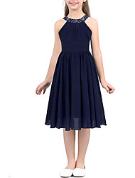 cheap -A-Line Round Tea Length Chiffon Junior Bridesmaid Dress with Beading / Ruching