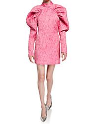 cheap -Sheath / Column High Neck Short / Mini Stretch Satin Dress with Ruched by LAN TING Express