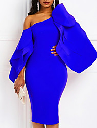 cheap -Sheath / Column Sexy Blue Cocktail Party Formal Evening Dress One Shoulder Long Sleeve Knee Length Satin with Draping 2020