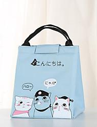 cheap -Unisex Oxford Cloth Lunch Bag Zipper Cartoon Daily Outdoor Handbags Black Yellow Pink Sky Blue