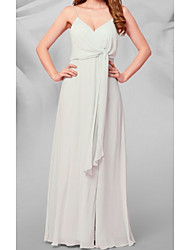 cheap -A-Line V Neck Floor Length Chiffon Bridesmaid Dress with Draping / Ruffles