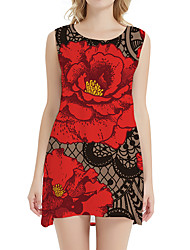 cheap -Women's Day Clutches Street Street chic Sheath Dress - Floral Print Red XS S M L
