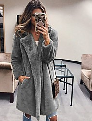 cheap -Women's Daily Long Faux Fur Coat, Solid Colored Rolled collar Long Sleeve Faux Fur Black / Blushing Pink / Fuchsia