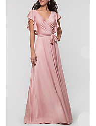 cheap -A-Line Plunging Neck Floor Length Satin Bridesmaid Dress with Bow(s) / Ruffles / Open Back