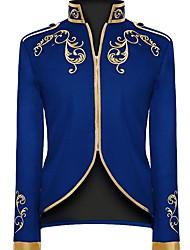 cheap -Men's Blazer, Geometric Stand Polyester Black / Blue / Red