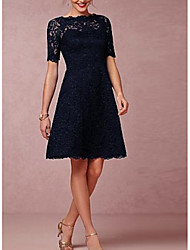 cheap -A-Line Scalloped Neckline Above Knee Lace Bridesmaid Dress with Lace