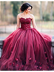 cheap -Ball Gown Sweetheart Neckline Court Train Tulle Floral / Red Engagement / Prom Dress with Beading / Appliques 2020