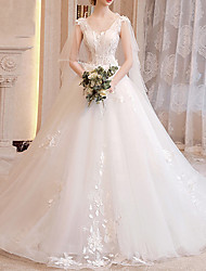 cheap -A-Line Jewel Neck Sweep / Brush Train Lace Regular Straps Wedding Dresses with Lace Insert / Appliques 2020